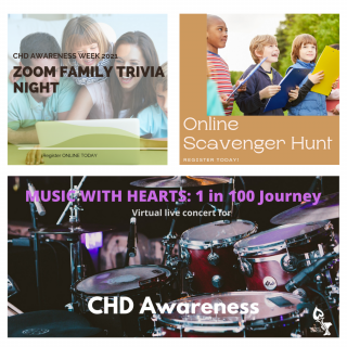 Images for family doing Trivia Night, children doing Scavenger Hunt and Person playing guitar for virtual concert